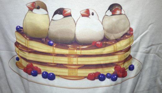 なにこれ欲しい!ふっくら文鳥とパンケーキの最強タッグTシャツ!